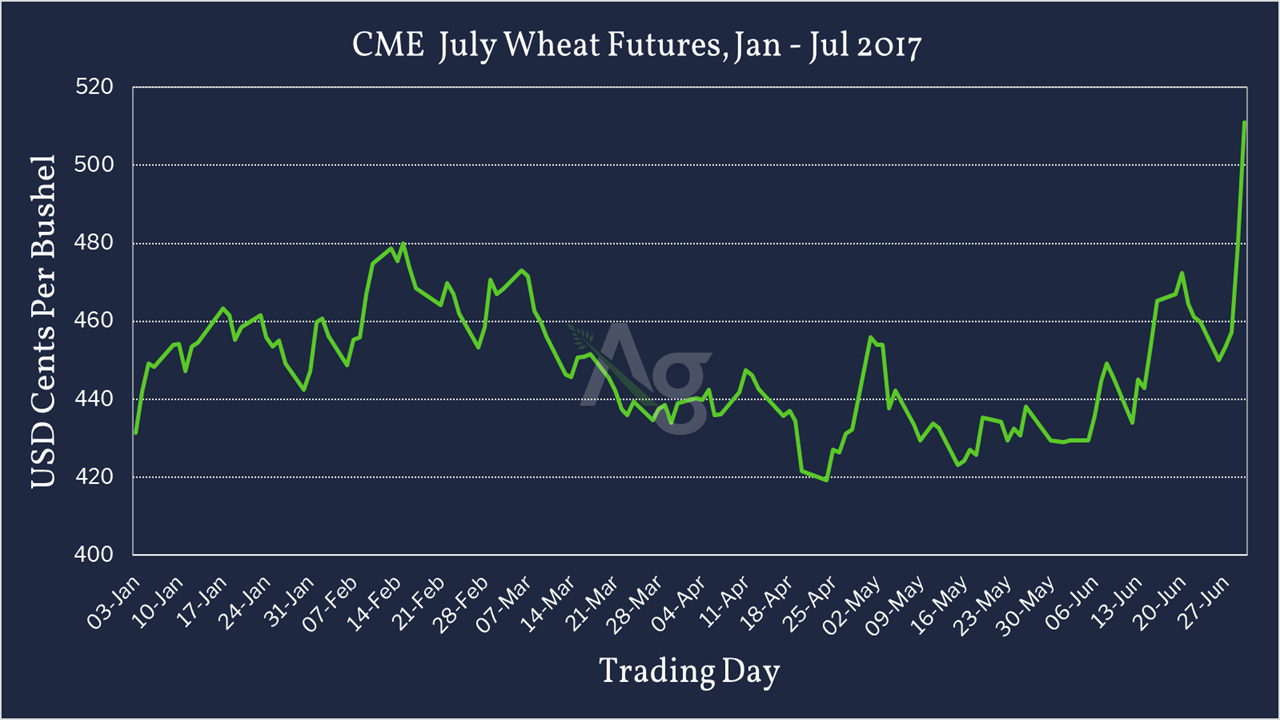 CME July Wheat Futures - Jan - July 2017