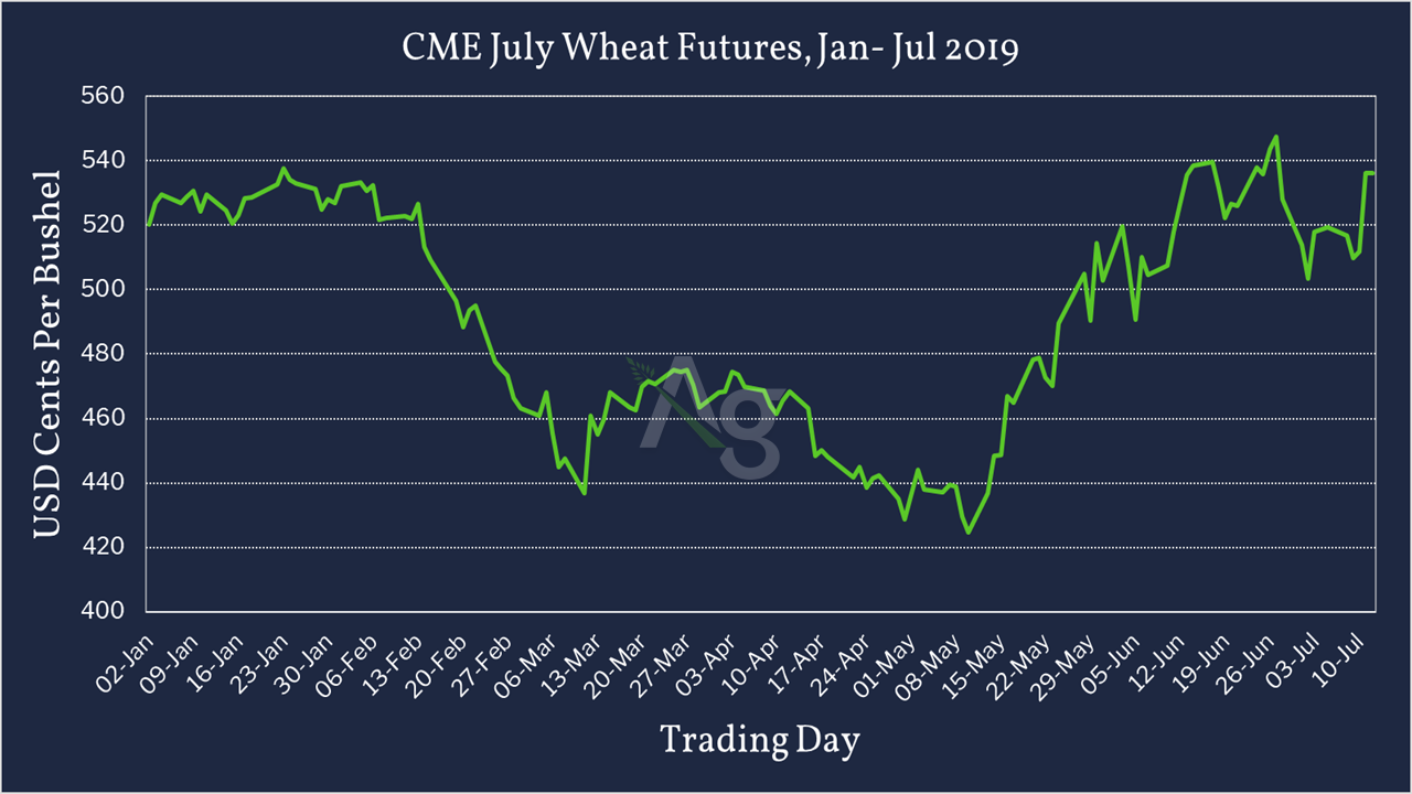 CME July Wheat Futures - Jan - July 2019